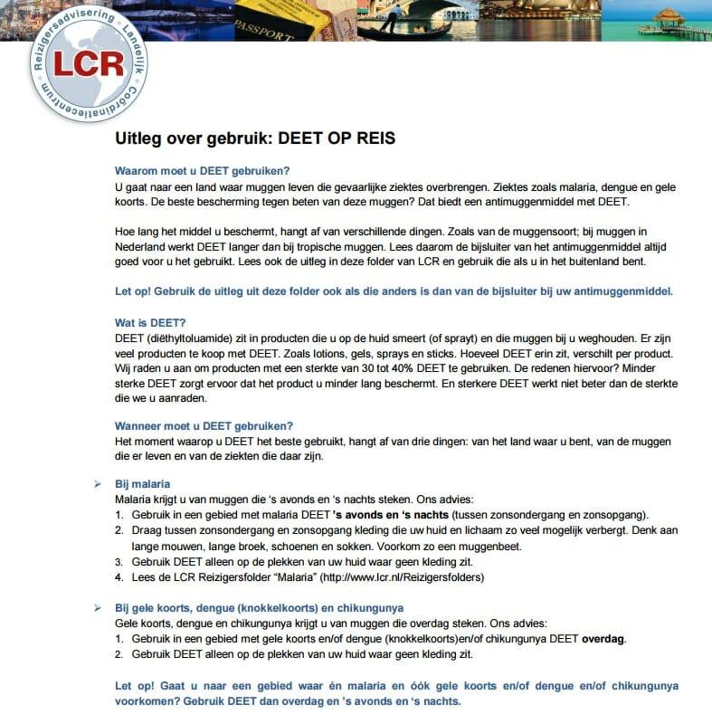 LCR Reizigersadvisering